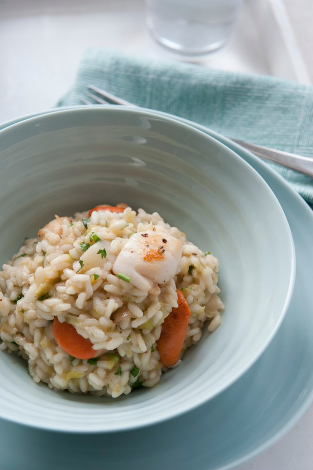Scallop and leek risotto
