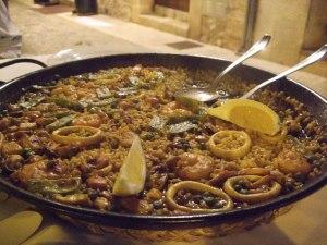 A classic meat and seafood paella at La Fonda