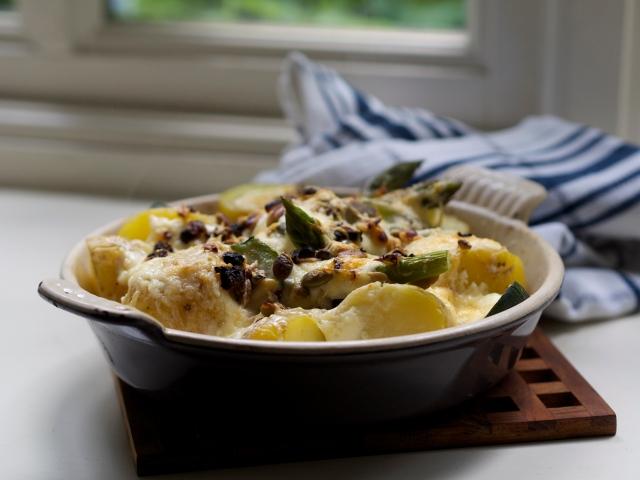 Asparagus and new potato gratin