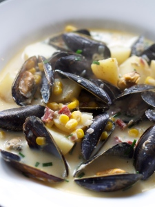 Smoked cod, chorizo and mussel chowder