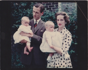 Nervous new parents with twins (I'm in my father's arms, sister Jane in mum's)
