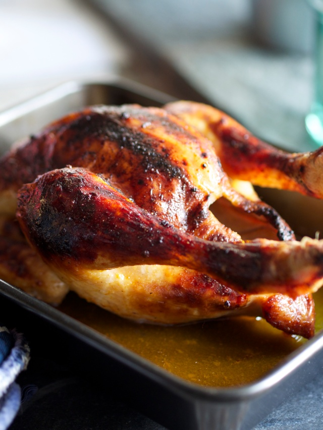 Beer-glazed roast chicken