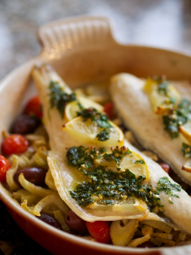 Sea bass with braised fennel