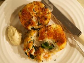 Hot smoked salmon and cavolo nero fishcakes