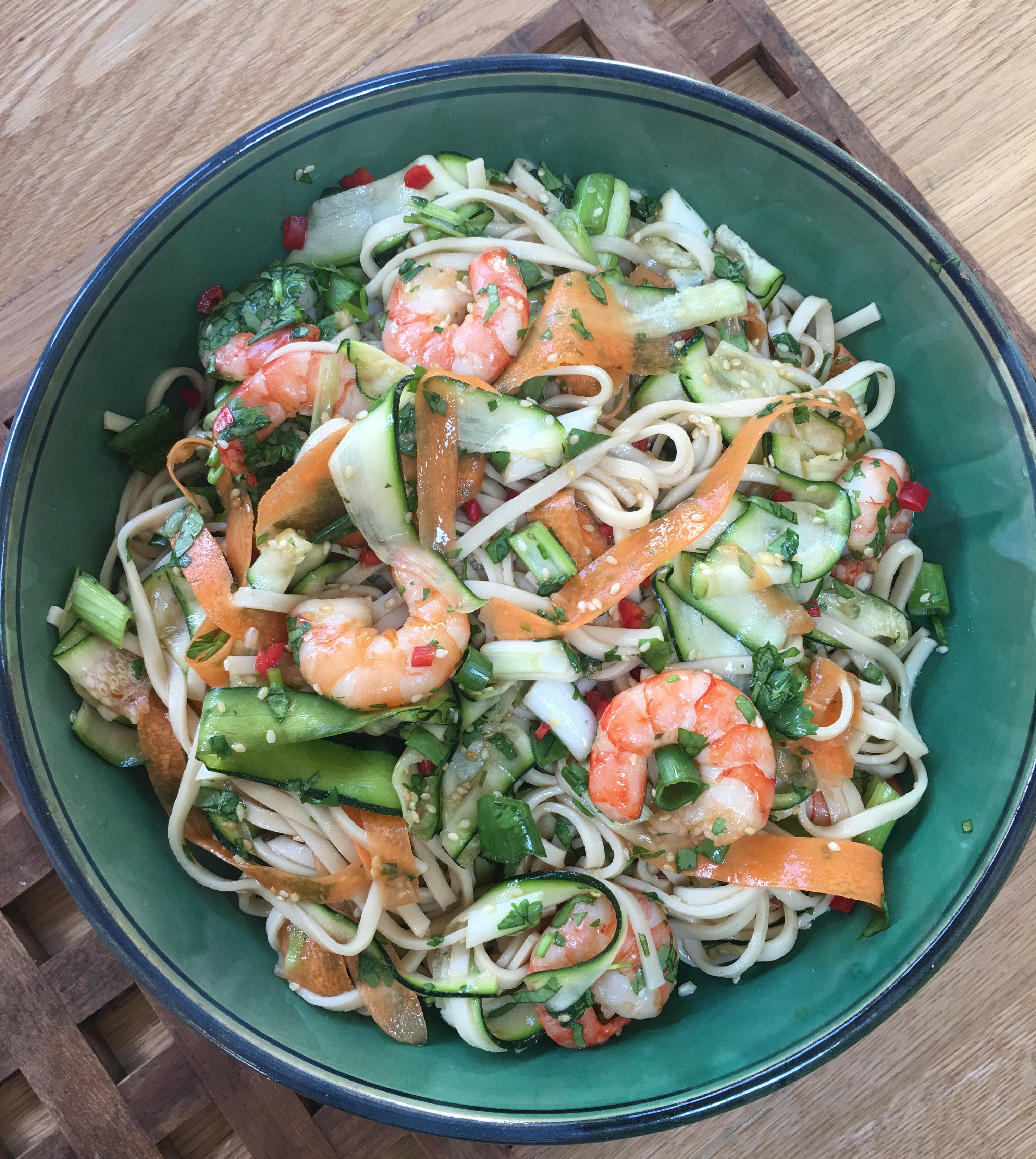 Courgette, prawn and udon noodle salad